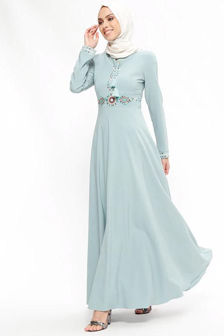 Puane Çağla Nakışlı Elbise