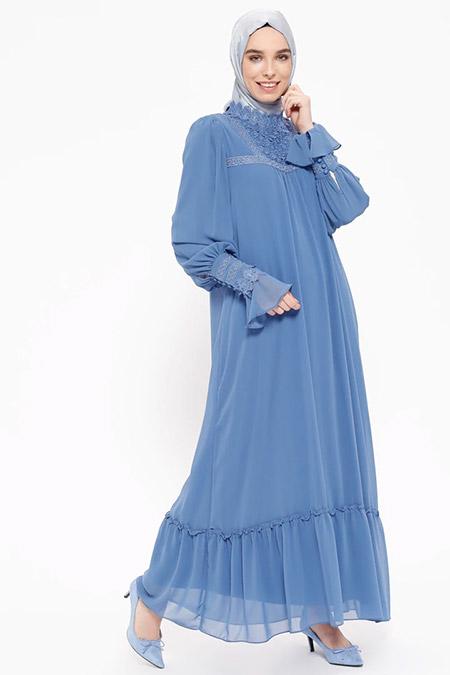 Puane İndigo Dantel Detaylı Elbise