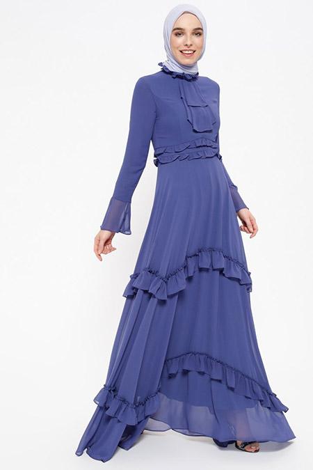 Puane İndigo Fırfır Detaylı Elbise