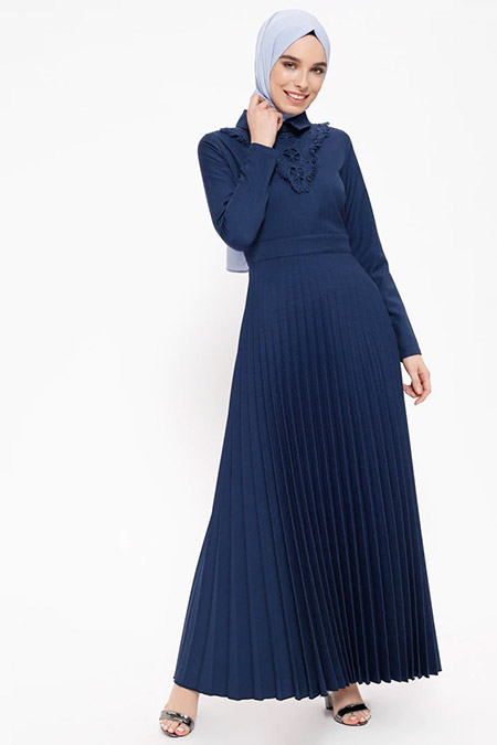 Puane İndigo Piliseli İnci Detaylı Elbise