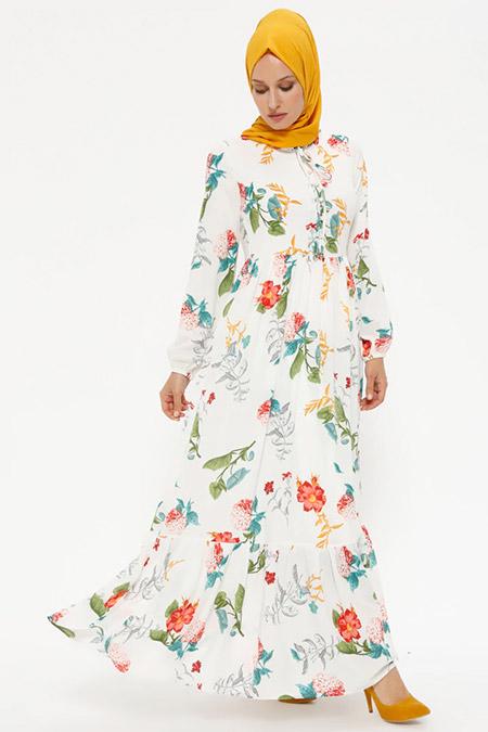 Puane Ekru Çiçek Desenli Elbise