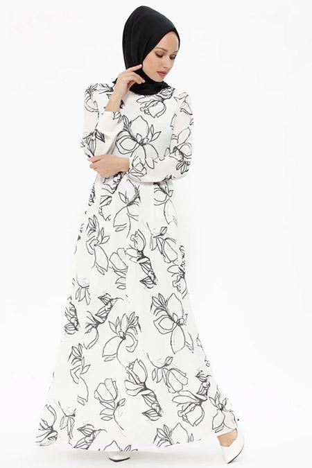 Puane Ekru Desenli Elbise