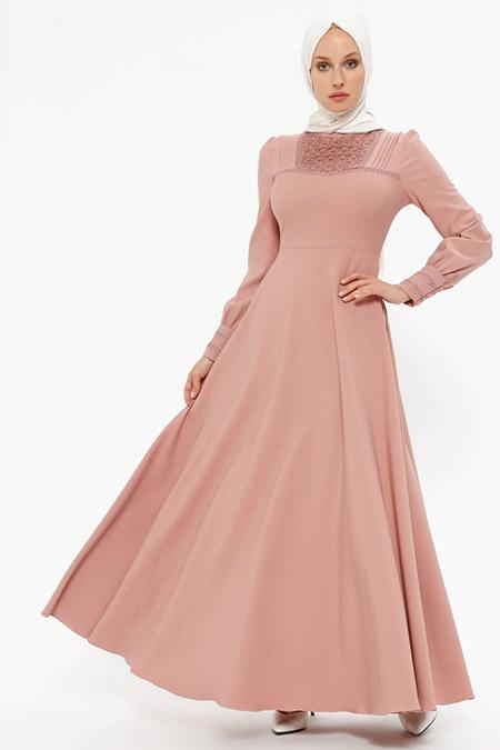 Puane Gül Kurusu Dantel Detaylı Elbise