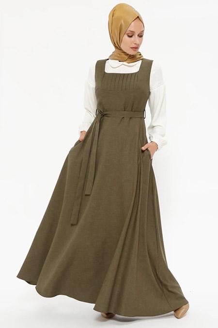 Puane Haki Kolsuz Elbise&Bluz İkili Takım