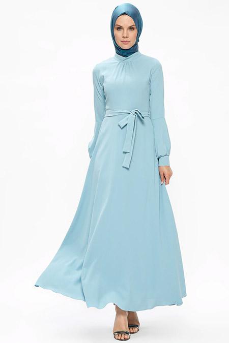 Puane Mavi Kol Detaylı Elbise