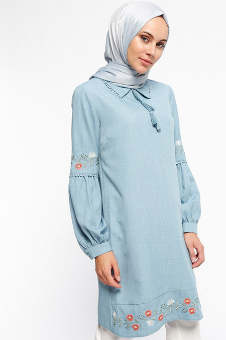 Puane Mavi Kolları Nakışlı Tunik