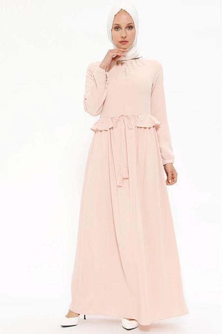 Puane Pudra İnci Detaylı Fırfırlı Elbise