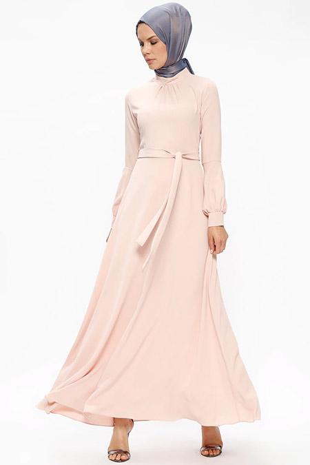 Puane Pudra Kol Detaylı Elbise