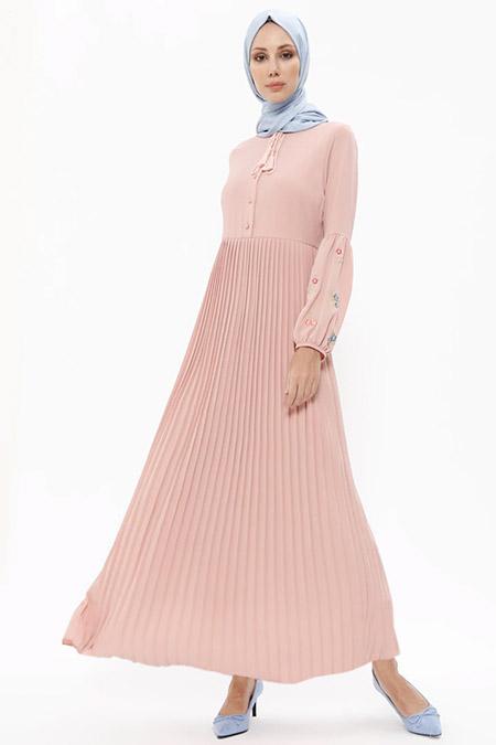 Puane Pudra Piliseli Elbise