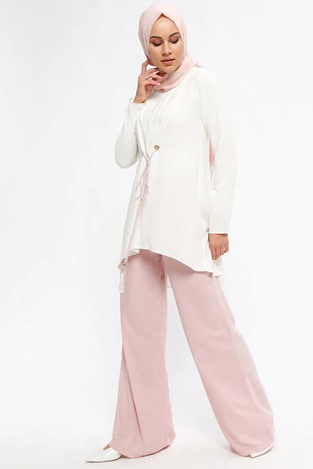 Puane Pudra Tunik&Pantolon İkili Takım