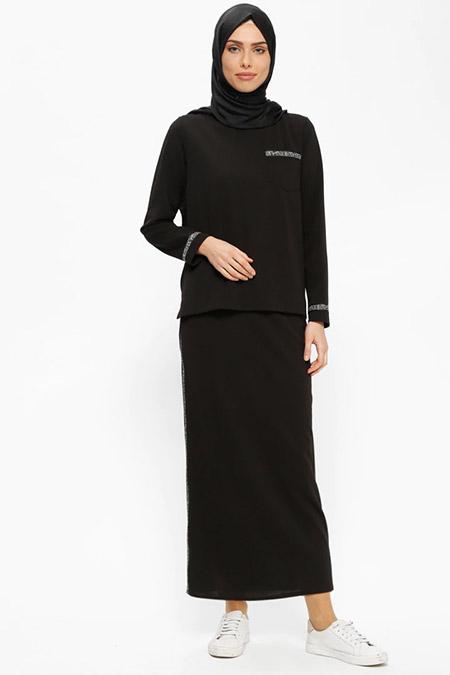 Puane Siyah Bluz&Etek İkili Takım