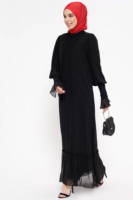 Puane Siyah Dantel Detaylı Elbise