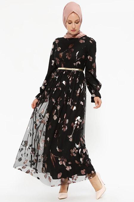 Puane Siyah Desenli Elbise