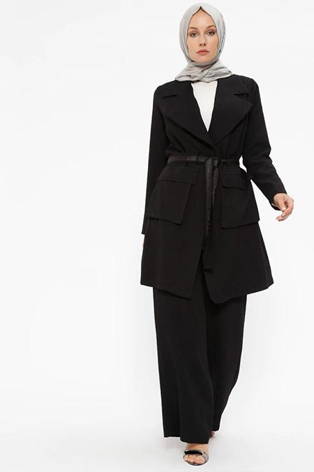 Puane Siyah Kap&Pantolon İkili Takım