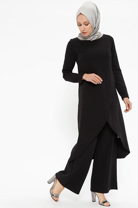 Puane Siyah Tunik&Pantolon İkili Takım