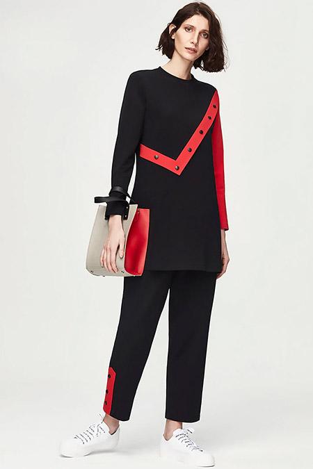 Pure Kırmızı Siyah Tunik&Pantolon İkili Takım