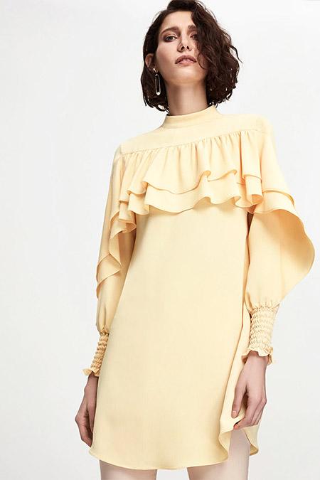 Pure Sarı Volanlı Tunik