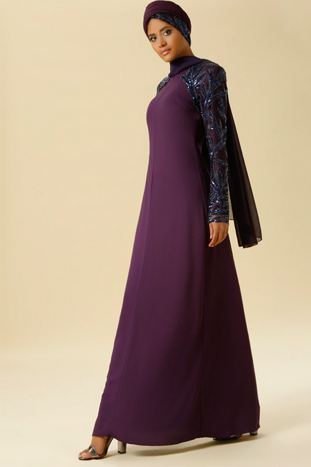 Raşit Bağzıbağlı Mor Payet İşleme Detaylı Abiye Elbise