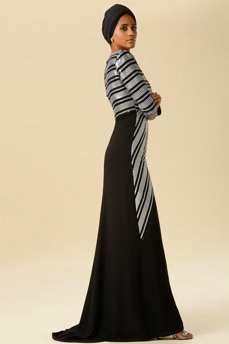 Raşit Bağzıbağlı Siyah Payet Detaylı Abiye Elbise