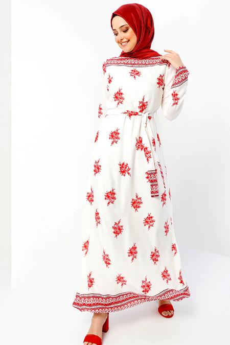 Refka Bordo Ekru Doğal Kumaştan Desenli Elbise