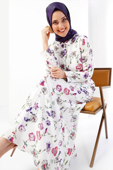 Refka Ekru Floral Desenli Gizli Düğme Detaylı Elbise