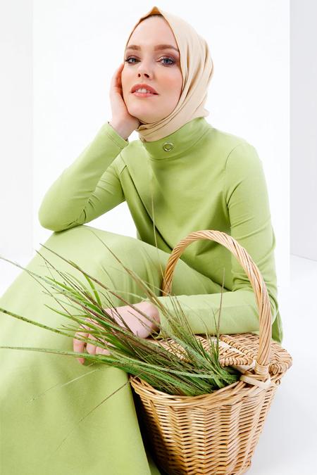 Refka Fıstık Yeşili Kuş Gözü Detaylı Cepli Elbise