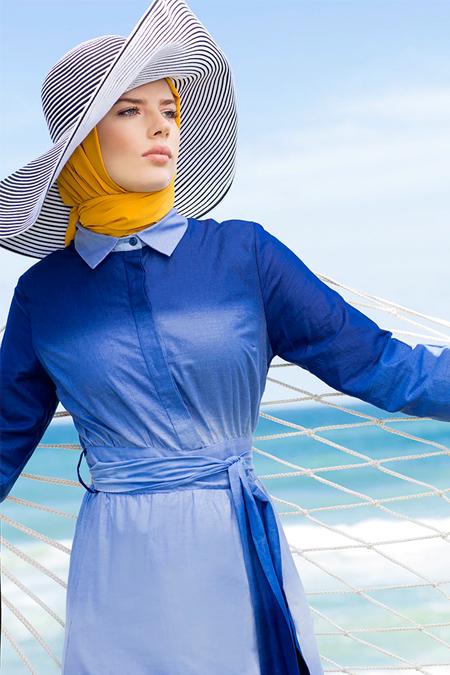 Refka İndigo Doğal Kumaşlı Degradeli Elbise