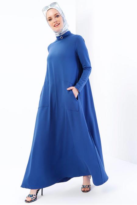 Refka İndigo Kuş Gözü Detaylı Cepli Elbise