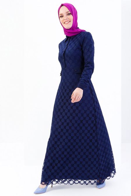 Refka Lacivert Dantel Abiye Elbise