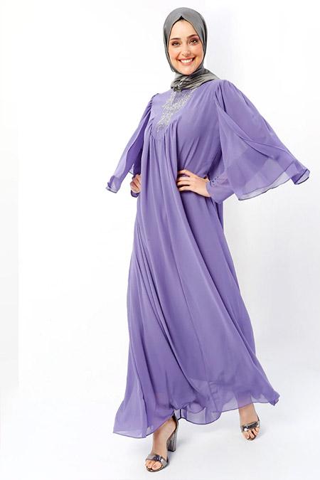 Refka Lila Drop Baskılı Abiye Elbise