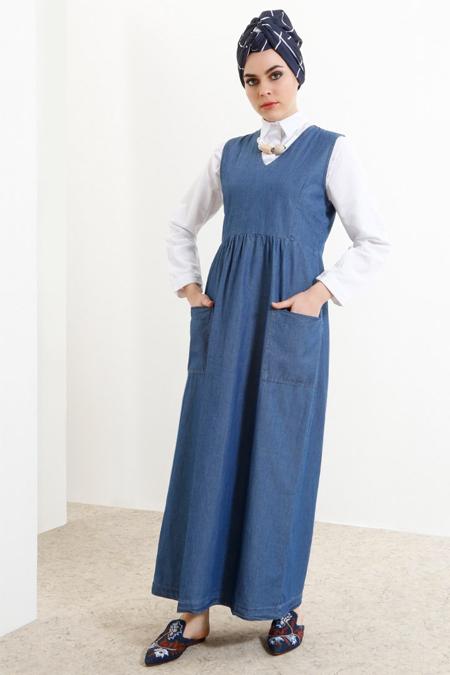 Refka Mavi Doğal Kumaşlı Kolsuz Kot Elbise