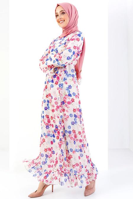 Refka Pembe Mavi Floral Desenli Elbise