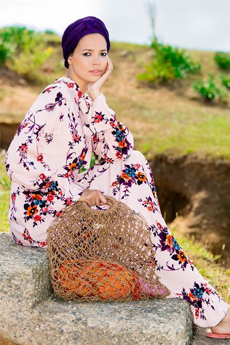 Refka Pudra Doğal Kumaşlı Floral Desenli Elbise