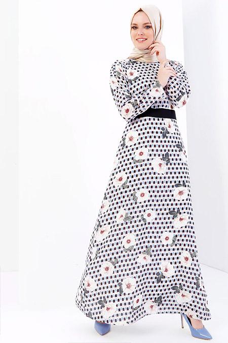 Refka Renkli Desenli Elbise