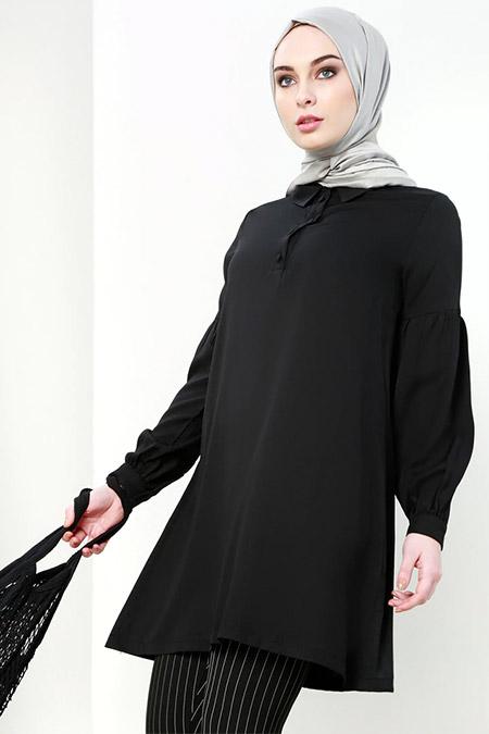 Refka Siyah Kol ve Düğme Detaylı Tunik