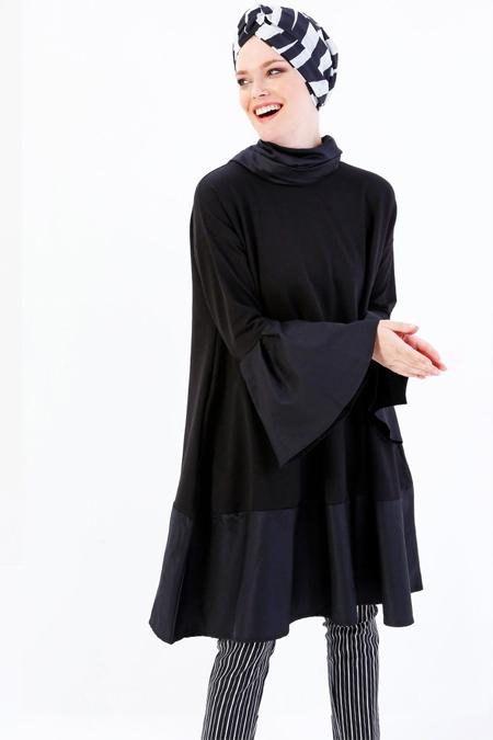 Refka Siyah Volanlı Tunik