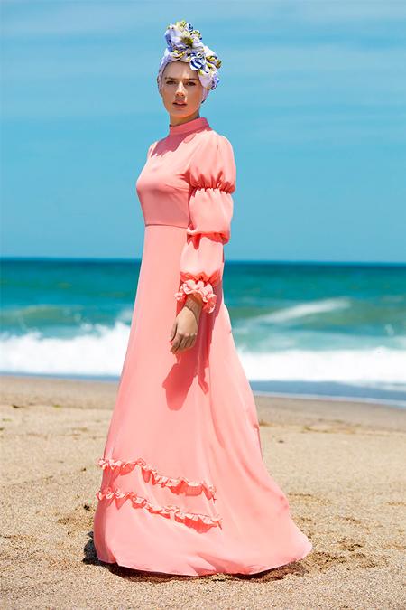 Refka Somon Fırfır Detaylı Abiye Elbise