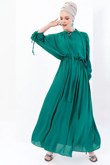 Refka Yeşil Yarasa Kollu Beli Büzgülü Elbise