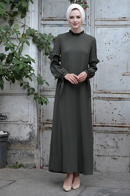 Selma Sarı Design Haki Kolları İncili Elbise