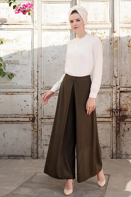Selma Sarı Design Haki Pantolon Etek