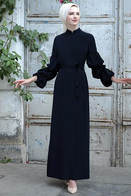 Selma Sarı Design Lacivert Kolu Büzgülü Elbise
