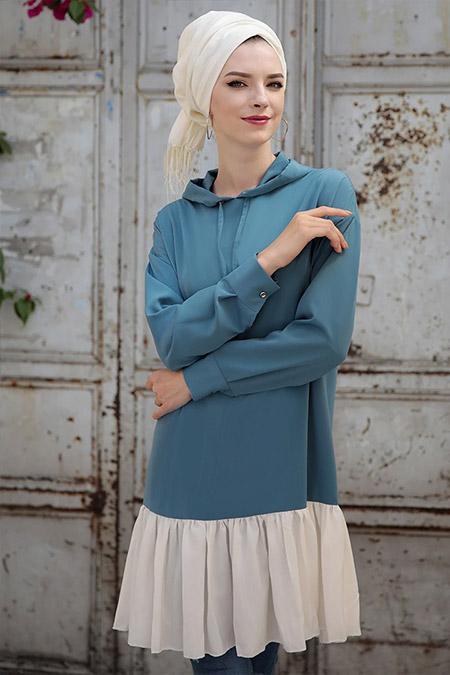 Selma Sarı Design Mavi Fırfırlı Kapüşonlu Tunik