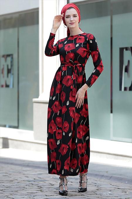 Selma Sarı Design Siyah Bordo Gonca Elbise