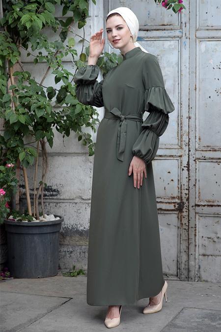 Selma Sarı Design Haki Kolu Büzgülü Elbise