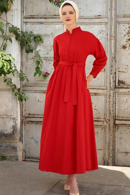 Selma Sarı Design Kırmızı Cotton Elbise