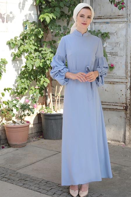 Selma Sarı Design Mavi Kolu Büzgülü Elbise