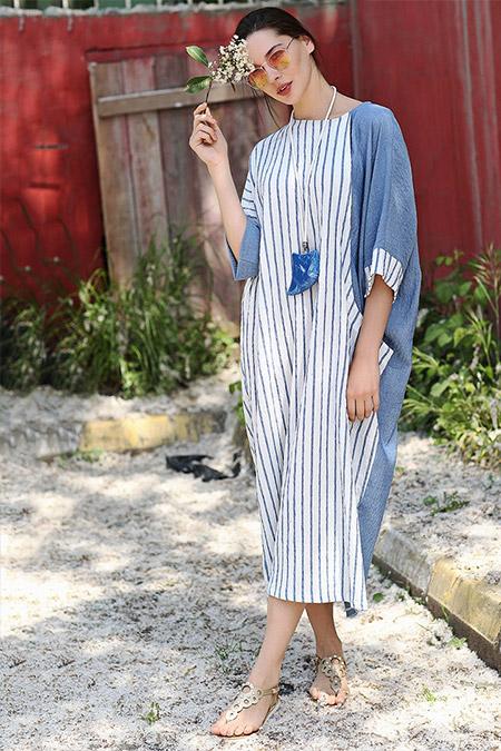 Tommy Life Mavi Çizgili Elbise