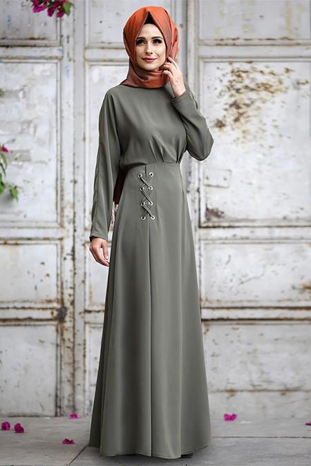 Gizem Kış Haki Kuş Gözü Detaylı Elbise
