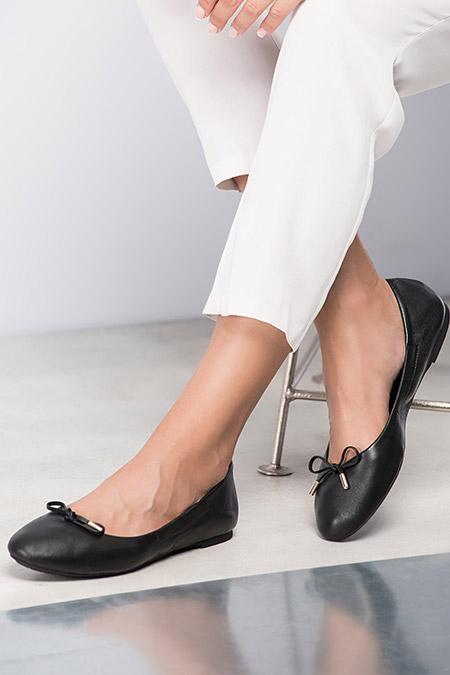 İnci Hakiki Deri Siyah Kadın Ayakkabı