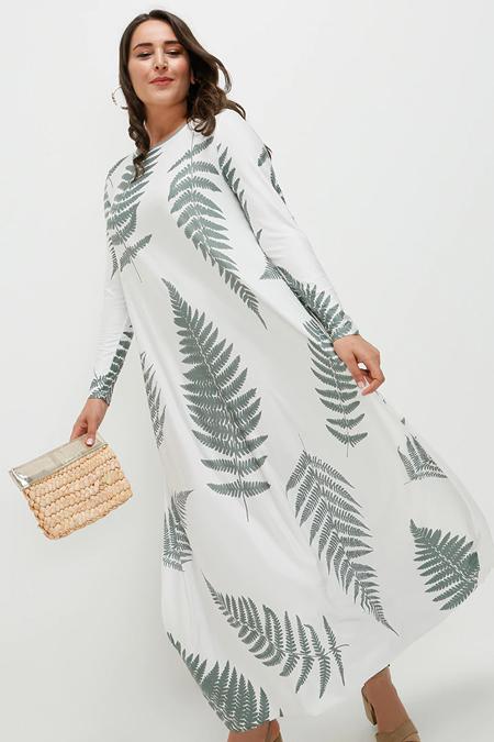 Alia Ekru Haki Desenli Elbise